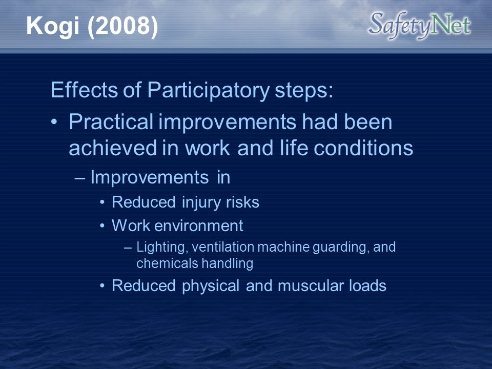 Kogi (2008) Effects of Participatory steps: