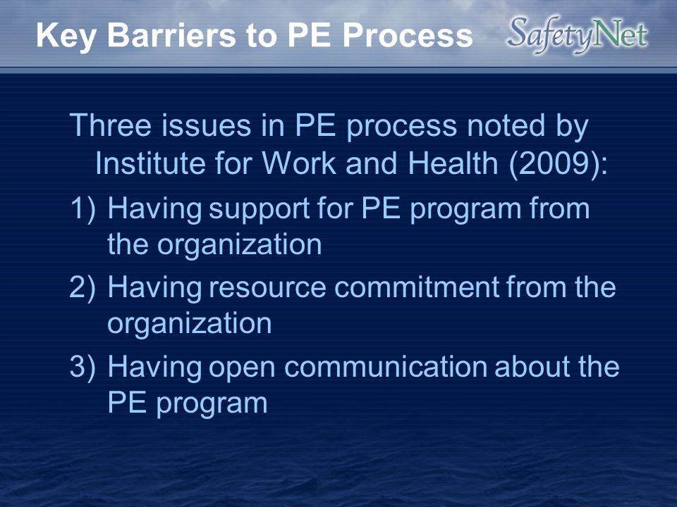Key Barriers to PE Process