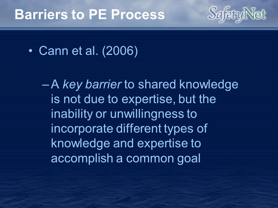 Barriers to PE Process Cann et al. (2006)