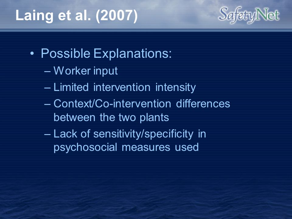 Laing et al. (2007) Possible Explanations: Worker input