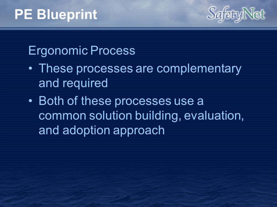 PE Blueprint Ergonomic Process