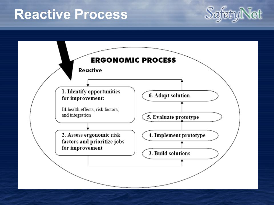 Reactive Process This part of the process addresses the immediate ill-health and other concerns due to poor ergonomics.