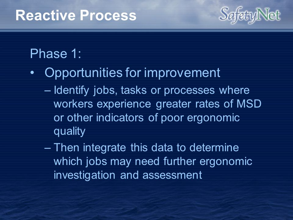 Reactive Process Phase 1: Opportunities for improvement