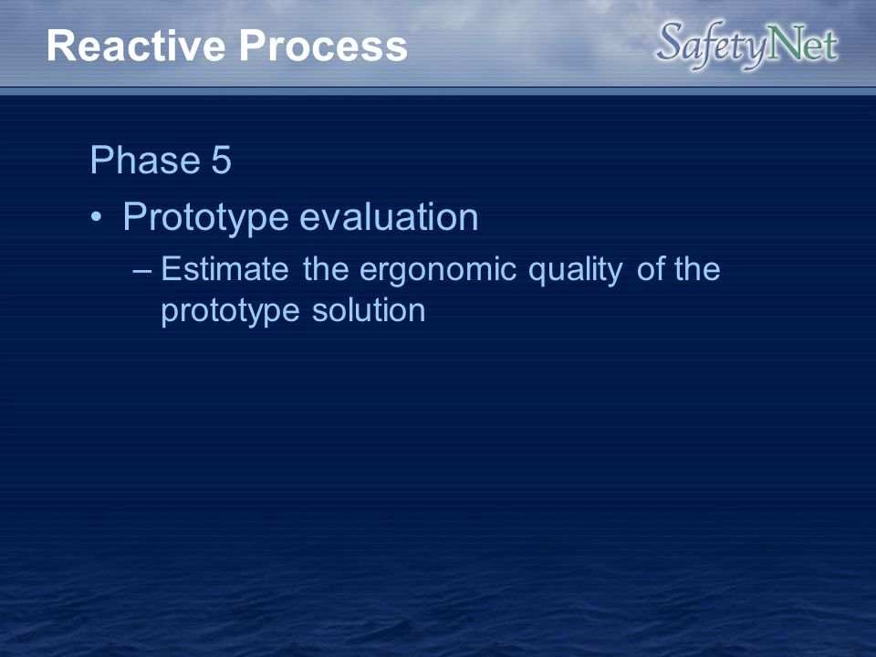 Reactive Process Phase 5 Prototype evaluation