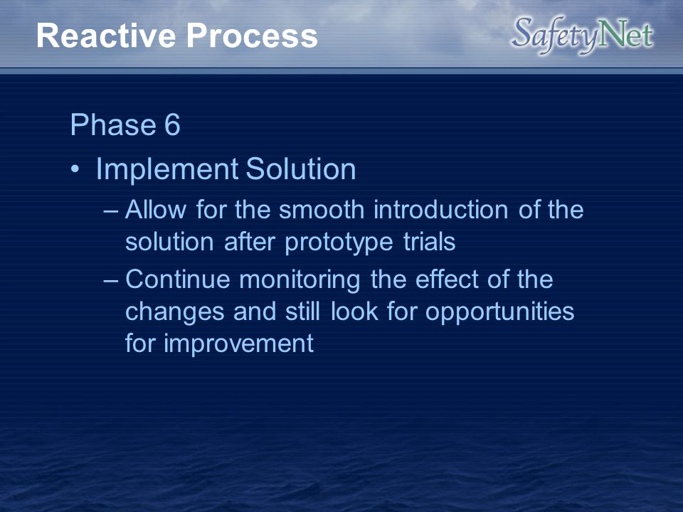 Reactive Process Phase 6 Implement Solution