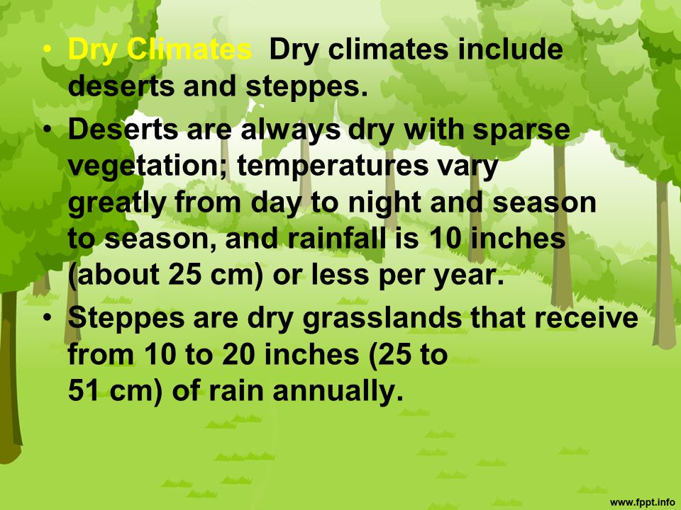 Dry Climates Dry climates include deserts and steppes.