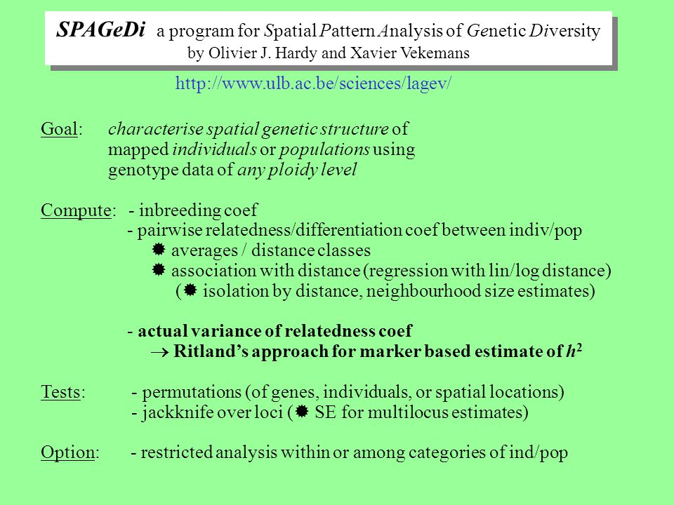 SPAGeDi a program for Spatial Pattern Analysis of Genetic Diversity