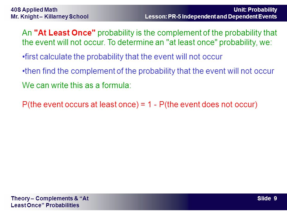 first calculate the probability that the event will not occur