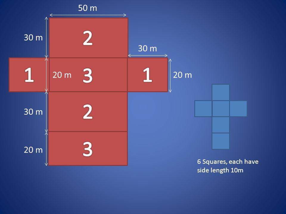 2 1 3 1 2 3 50 m 30 m 30 m 20 m 20 m 30 m 20 m 6 Squares, each have