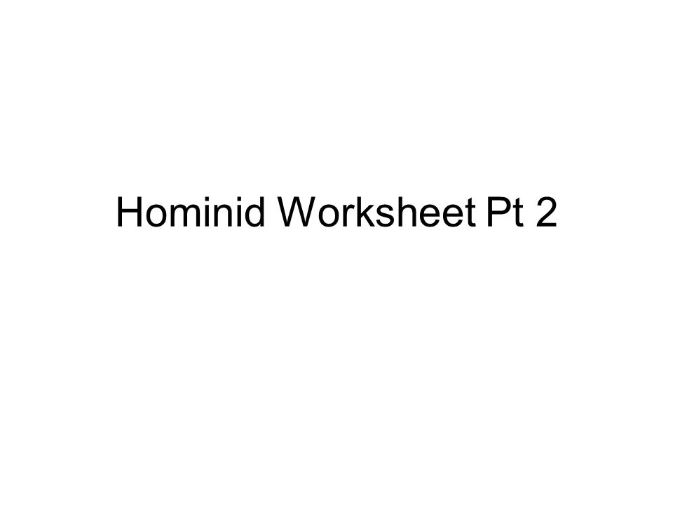 Hominid Worksheet Pt 2