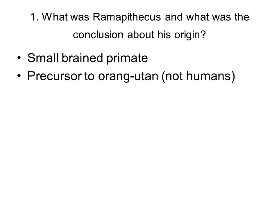 1. What was Ramapithecus and what was the conclusion about his origin