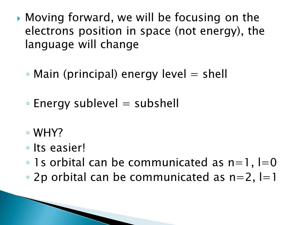 Moving forward, we will be focusing on the electrons position in space (not energy), the language will change
