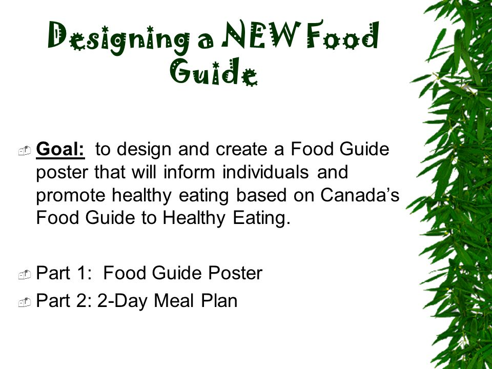 Designing a NEW Food Guide