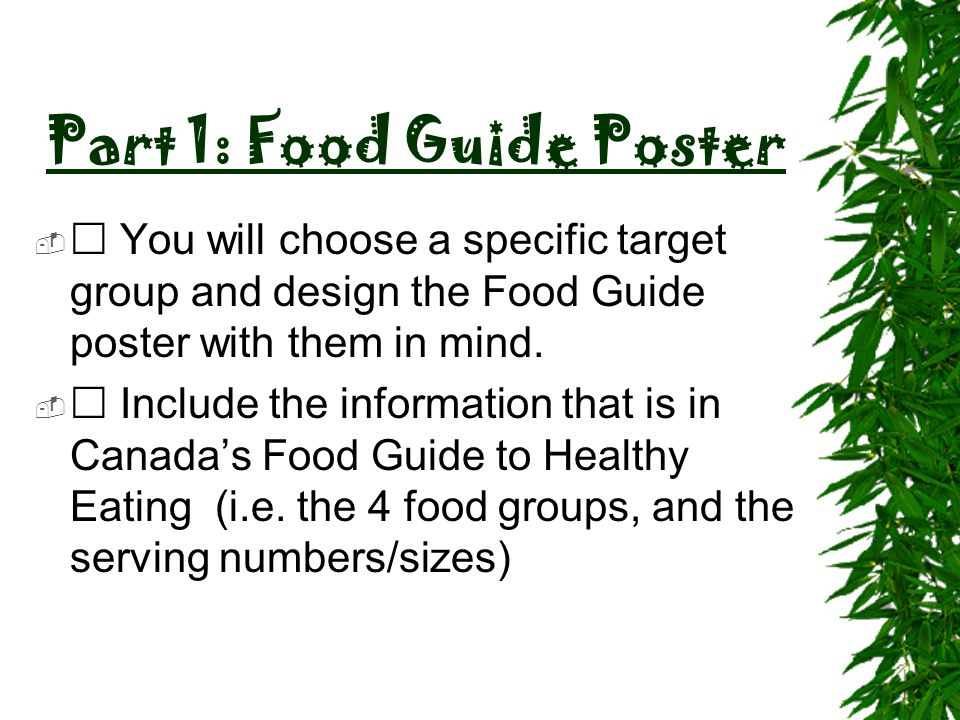 Part 1: Food Guide Poster