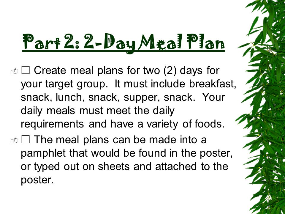Part 2: 2-Day Meal Plan