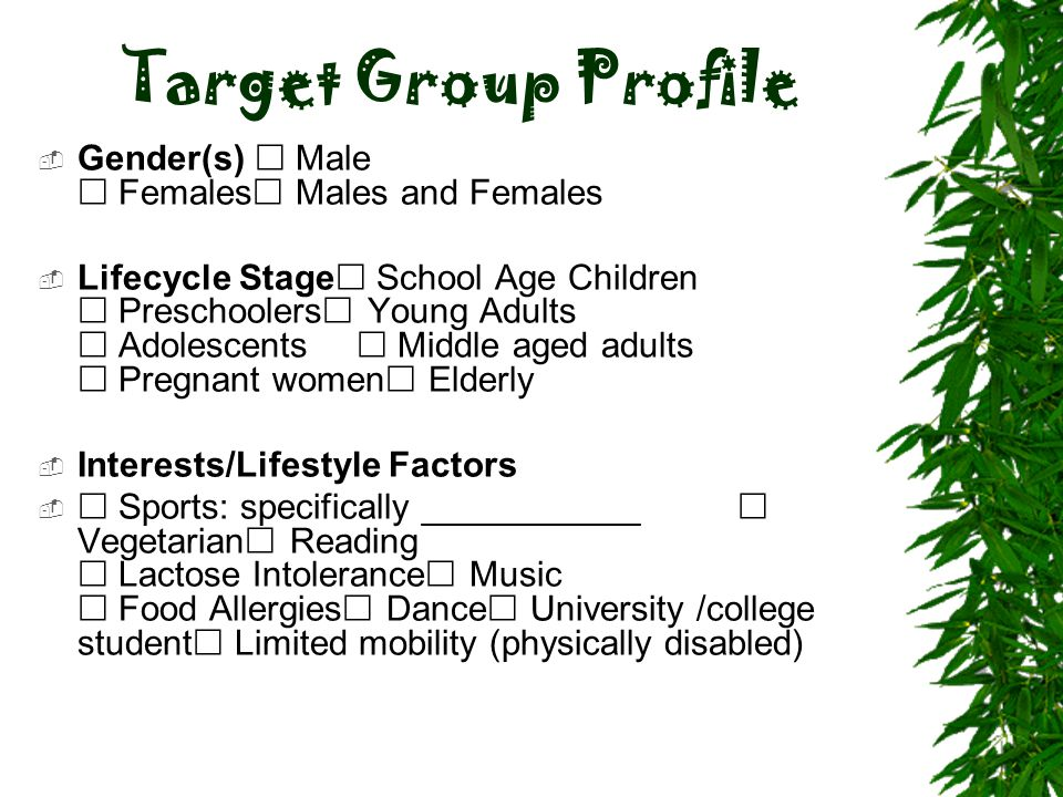 Target Group Profile Gender(s)  Male  Females Males and Females