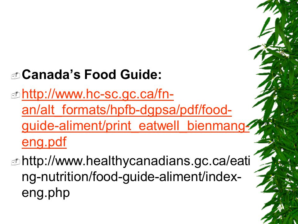 Canada's Food Guide: http://www.hc-sc.gc.ca/fn-an/alt_formats/hpfb-dgpsa/pdf/food-guide-aliment/print_eatwell_bienmang-eng.pdf.