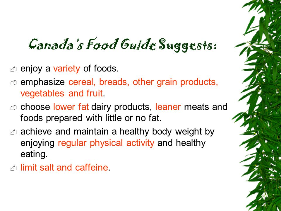 Canada's Food Guide Suggests: