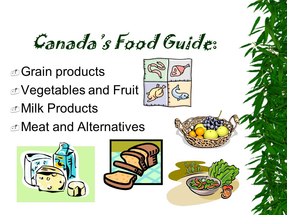 Canada's Food Guide: Grain products Vegetables and Fruit Milk Products