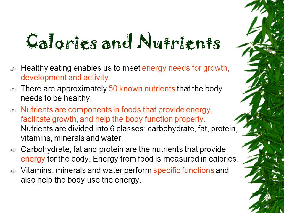Calories and Nutrients