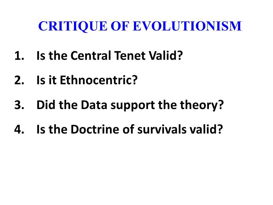 CRITIQUE OF EVOLUTIONISM