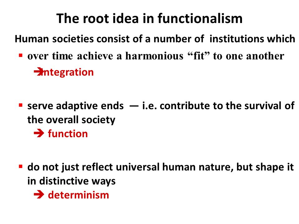 The root idea in functionalism