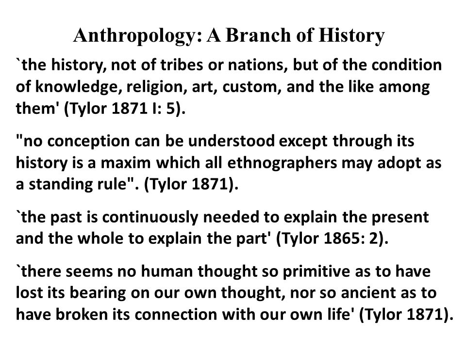 Anthropology: A Branch of History