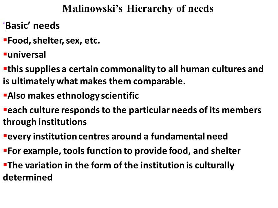 Malinowski's Hierarchy of needs