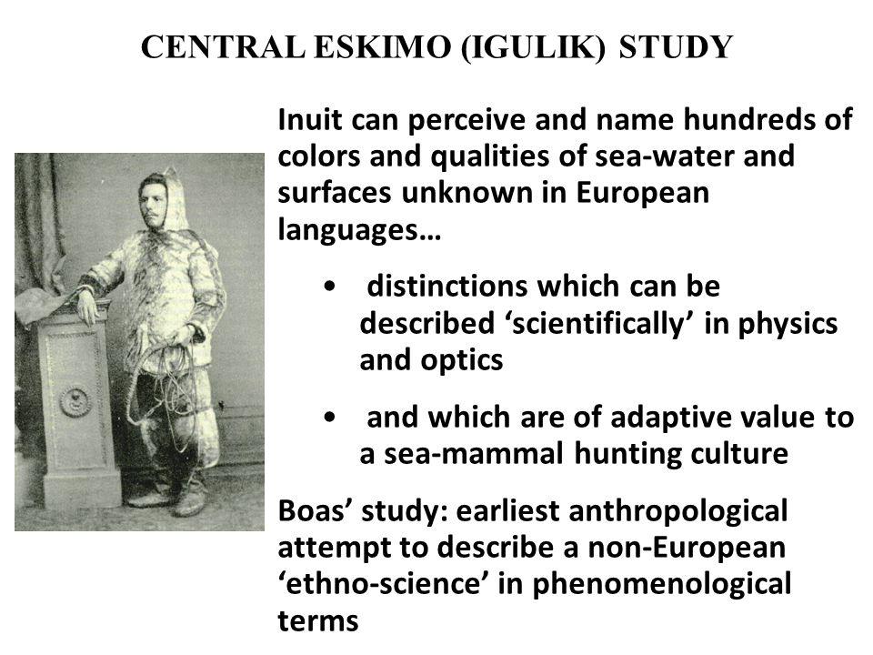 CENTRAL ESKIMO (IGULIK) STUDY