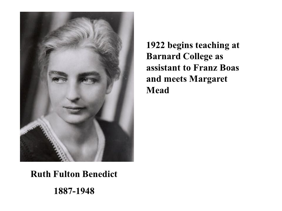 1922 begins teaching at Barnard College as assistant to Franz Boas and meets Margaret Mead