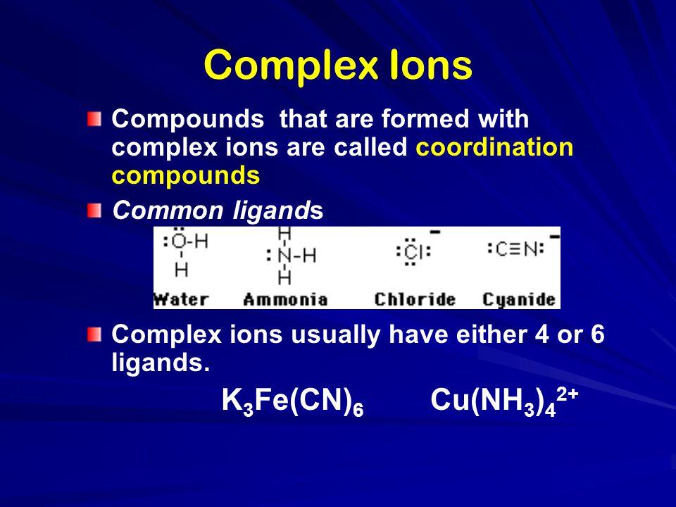 Complex Ions K3Fe(CN)6 Cu(NH3)42+