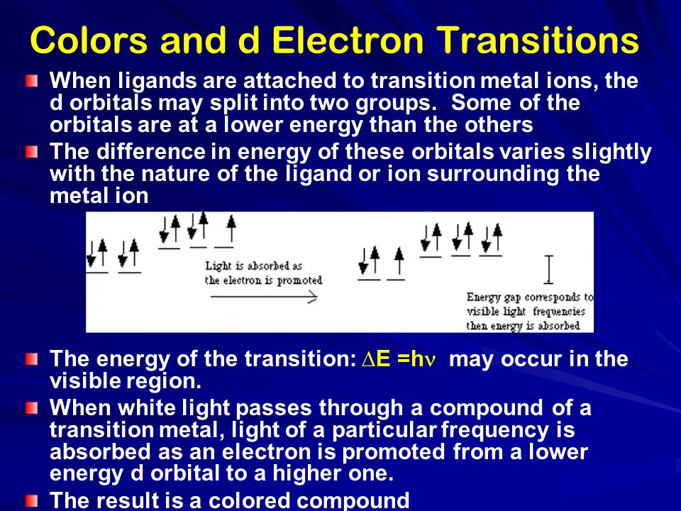 Colors and d Electron Transitions