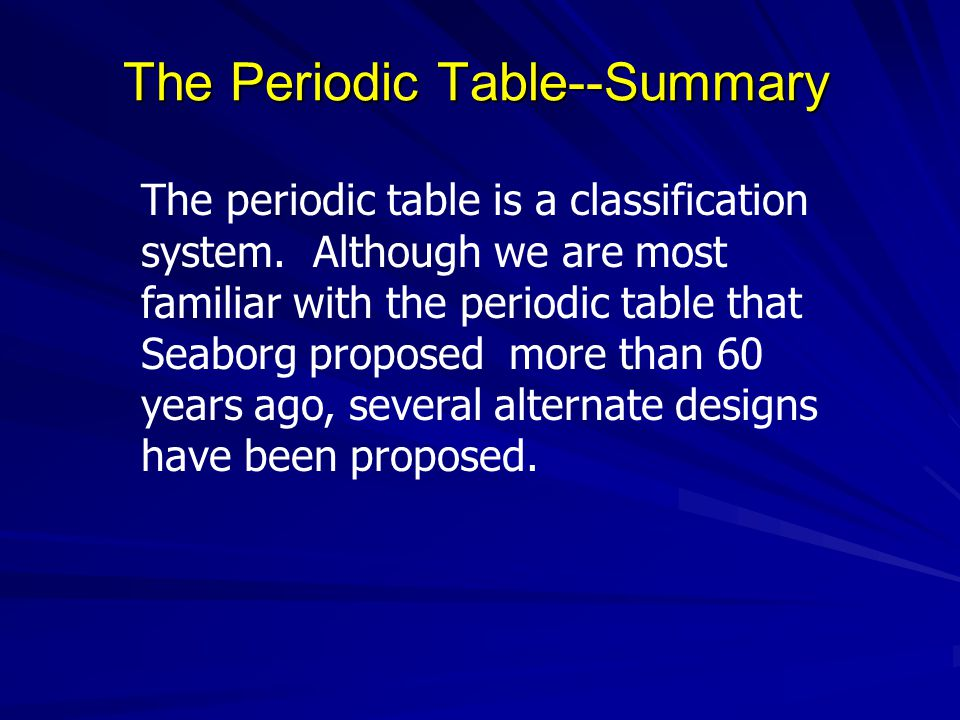 The Periodic Table--Summary