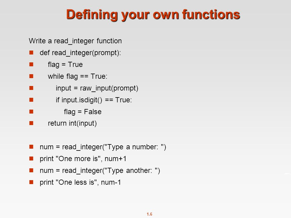 Defining your own functions