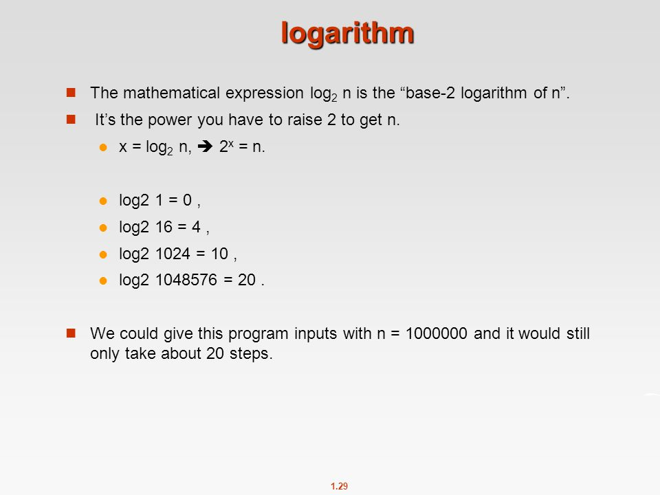 logarithm The mathematical expression log2 n is the base-2 logarithm of n . It's the power you have to raise 2 to get n.