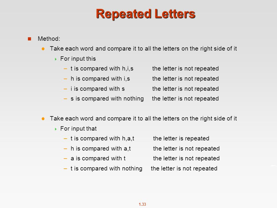 Repeated Letters Method: