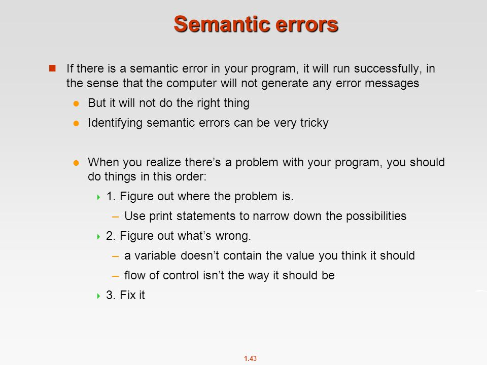 Semantic errors