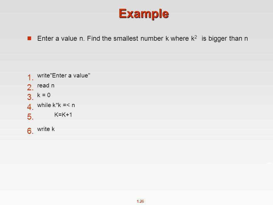 Example write Enter a value read n k = 0 while k*k =< n K=K+1