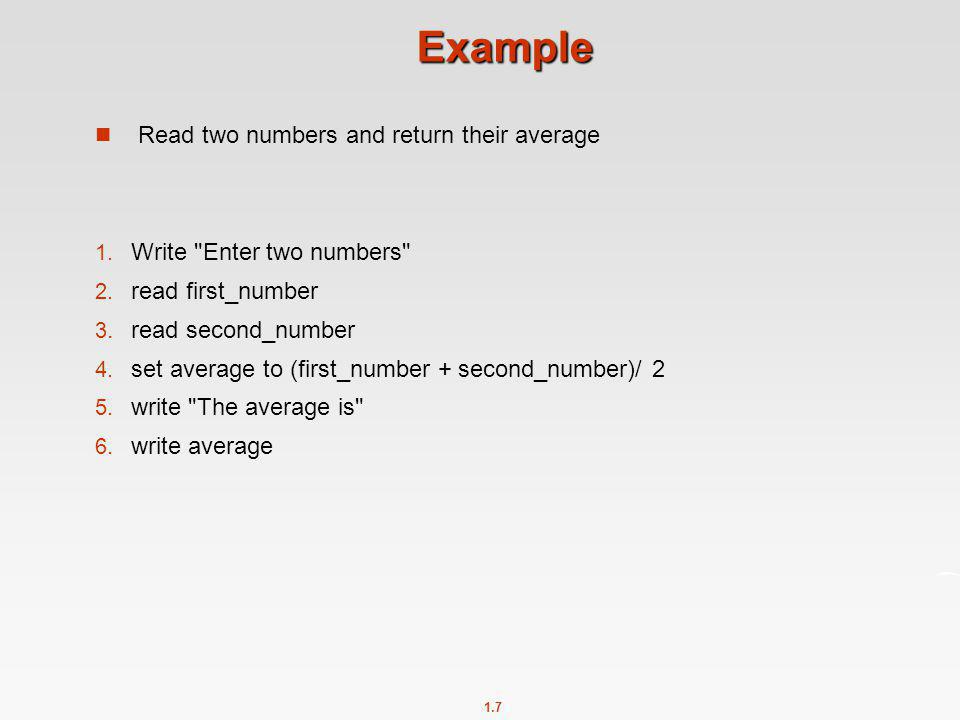 Example Read two numbers and return their average
