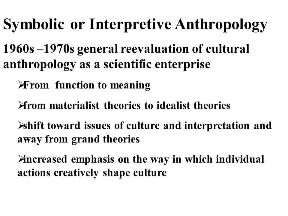 Symbolic or Interpretive Anthropology