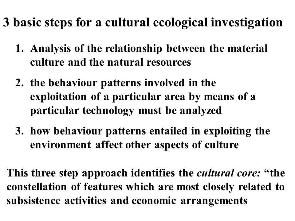 3 basic steps for a cultural ecological investigation