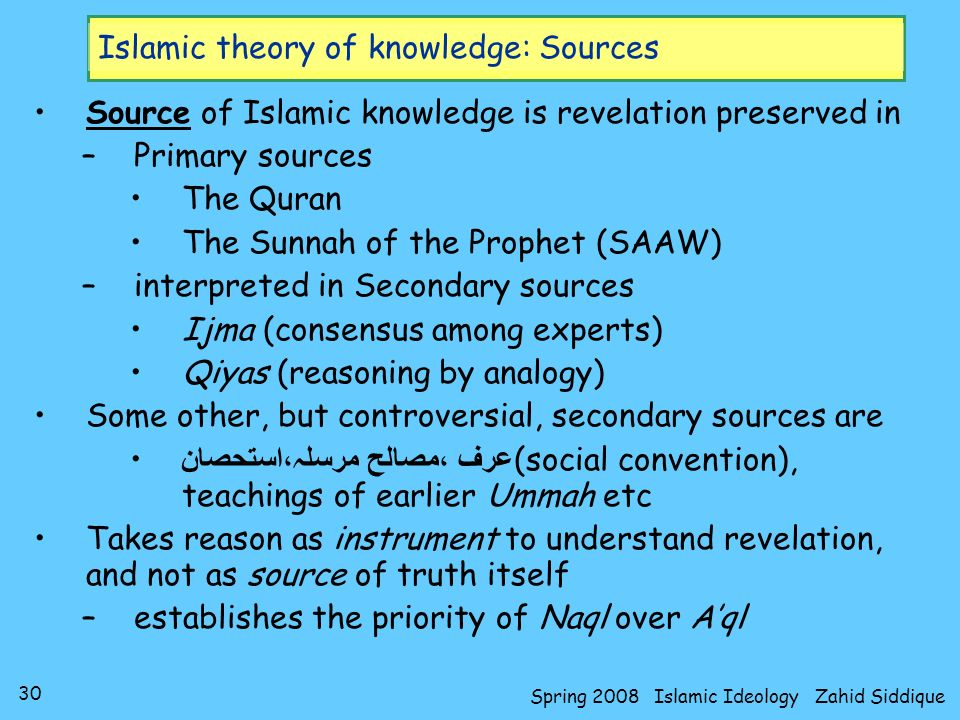 Islamic theory of knowledge: Sources