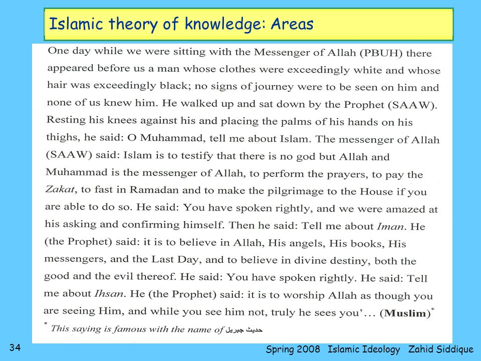 Islamic theory of knowledge: Areas