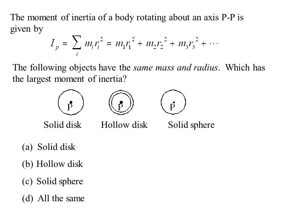 The moment of inertia of a body rotating about an axis P-P is given by