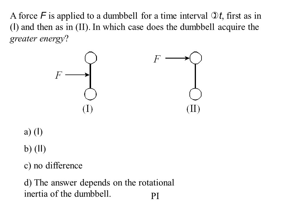A force F is applied to a dumbbell for a time interval )t, first as in (I) and then as in (II). In which case does the dumbbell acquire the greater energy