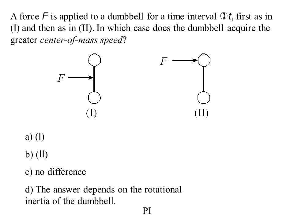 A force F is applied to a dumbbell for a time interval )t, first as in (I) and then as in (II). In which case does the dumbbell acquire the greater center-of-mass speed