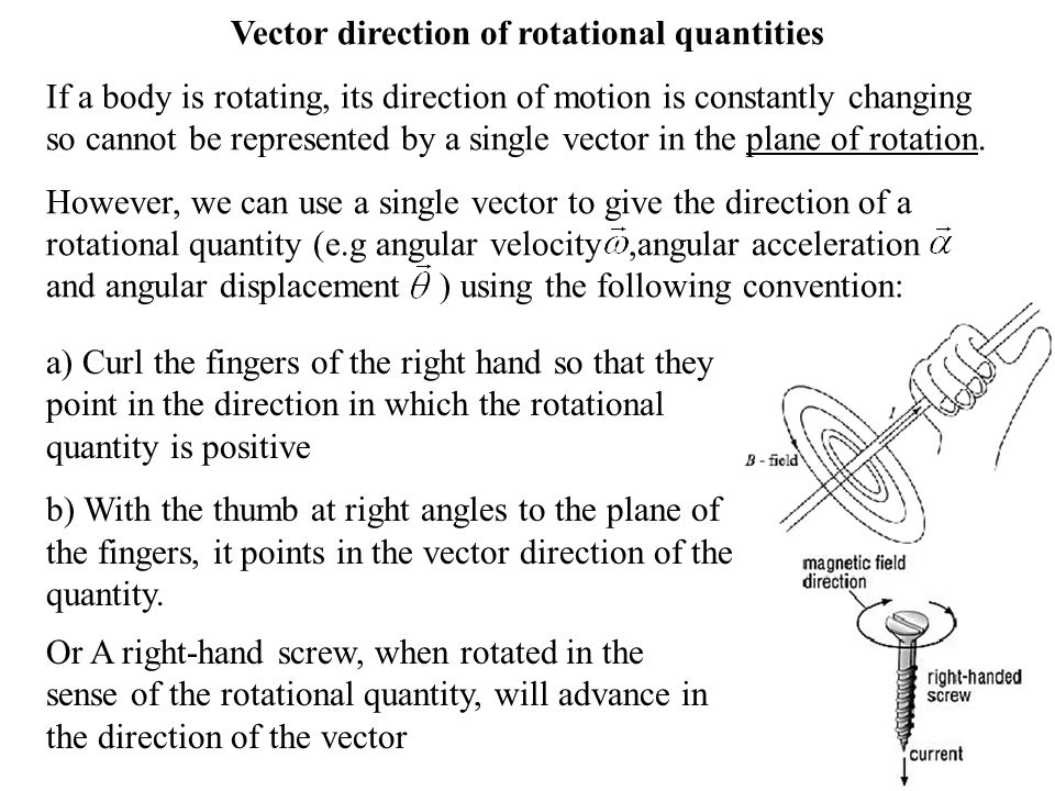 Vector direction of rotational quantities