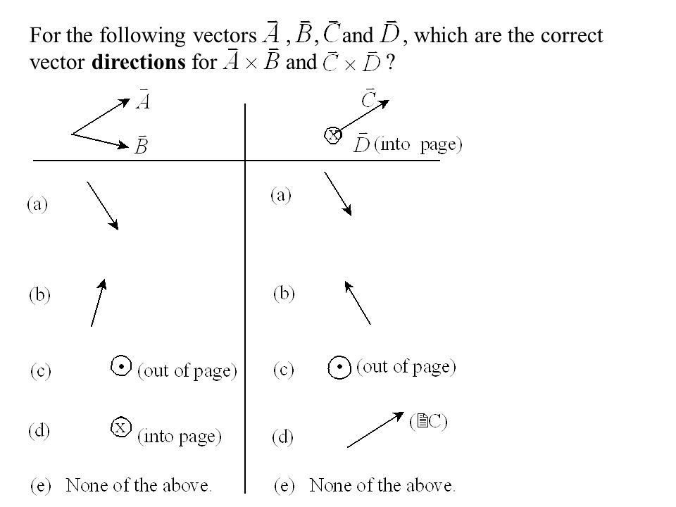 For the following vectors , , and , which are the correct vector directions for and