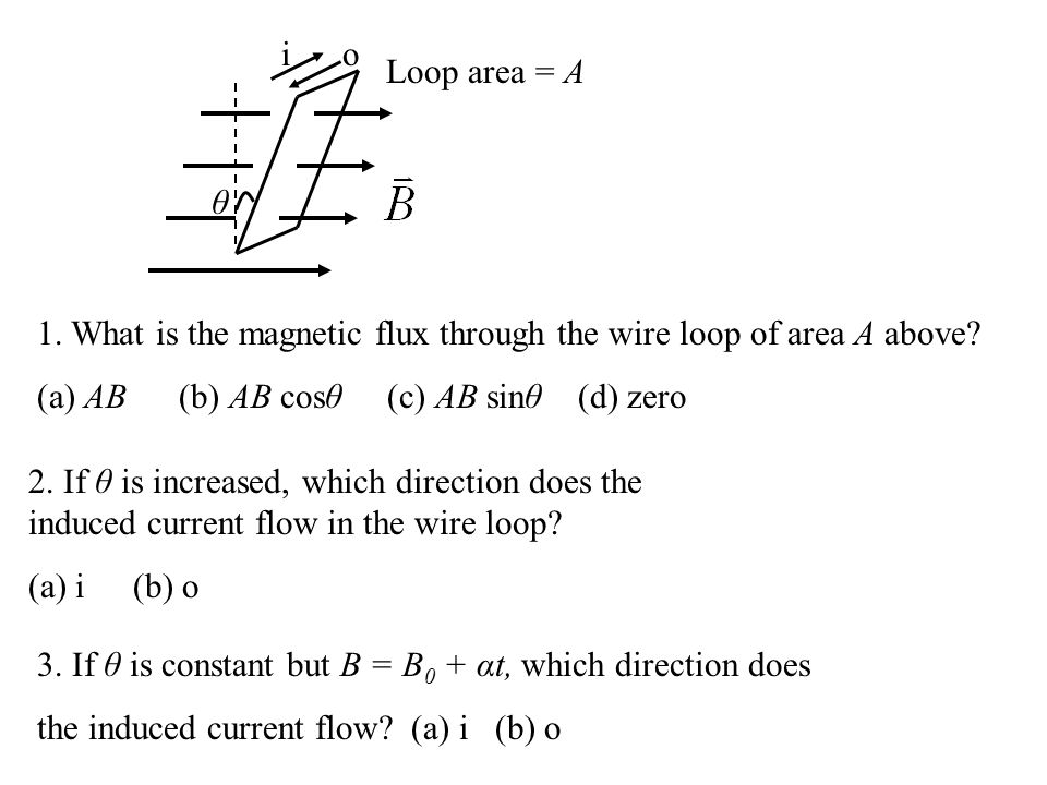 i o. Loop area = A. θ. 1. What is the magnetic flux through the wire loop of area A above (a) AB (b) AB cosθ (c) AB sinθ (d) zero.