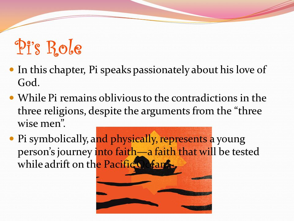 Pi's Role In this chapter, Pi speaks passionately about his love of God.
